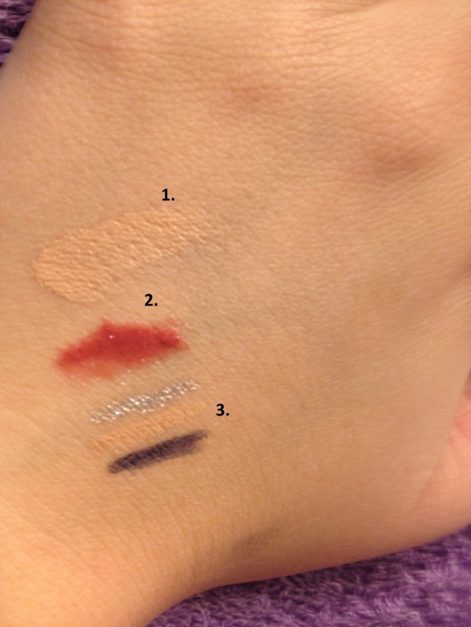 Product swatches for Neutrogena, L'Oreal, and Rimmel.