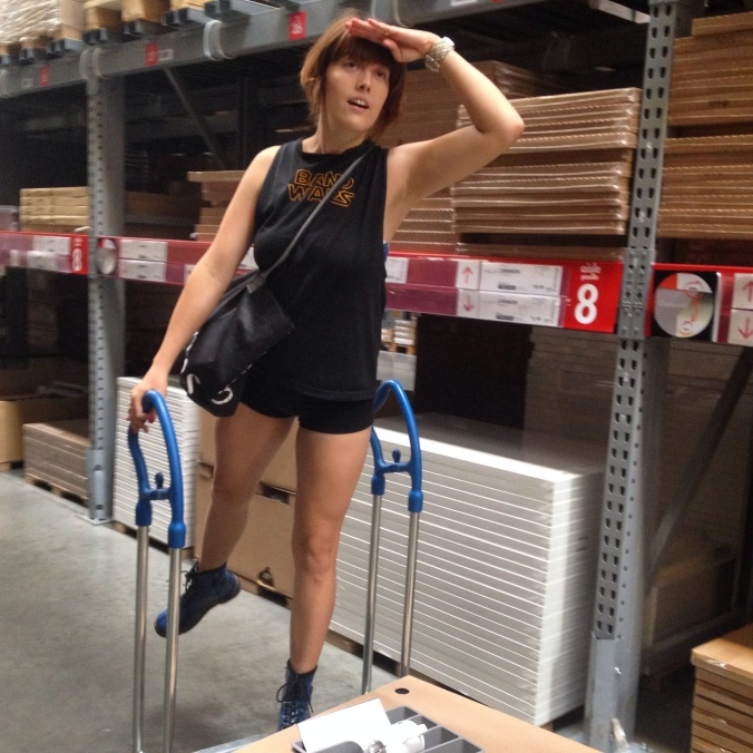 Navigating the aisles of Ikea.